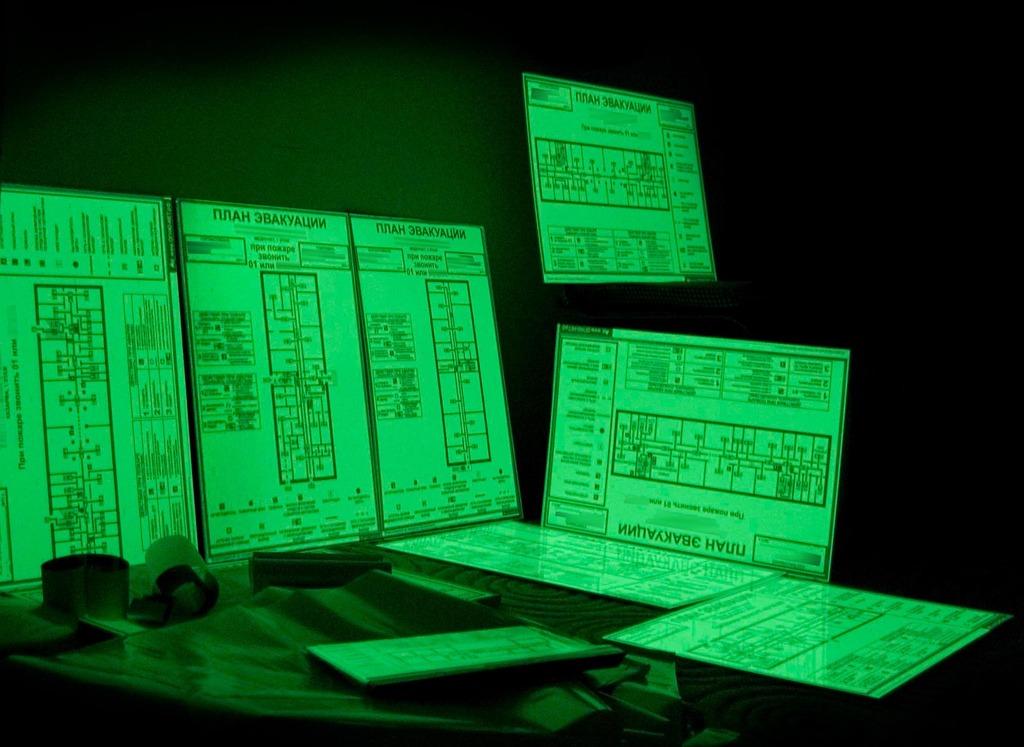 печать плана эвакуации на фотолюминесцентной основе